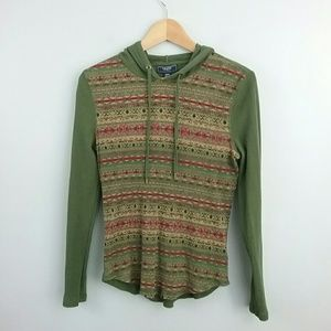 Chaps//Green Thermal Style Long Sleeve Top